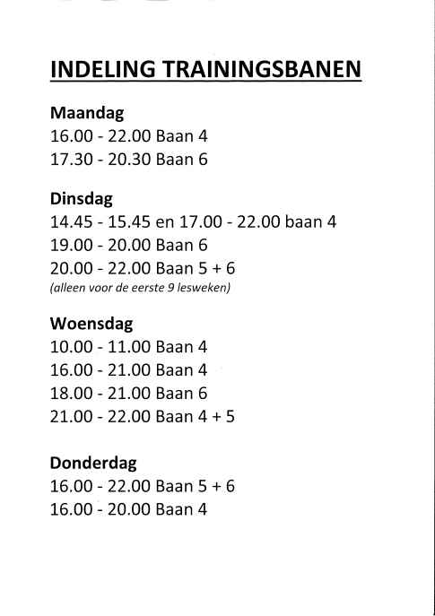 Indeling Trainingsbanen
